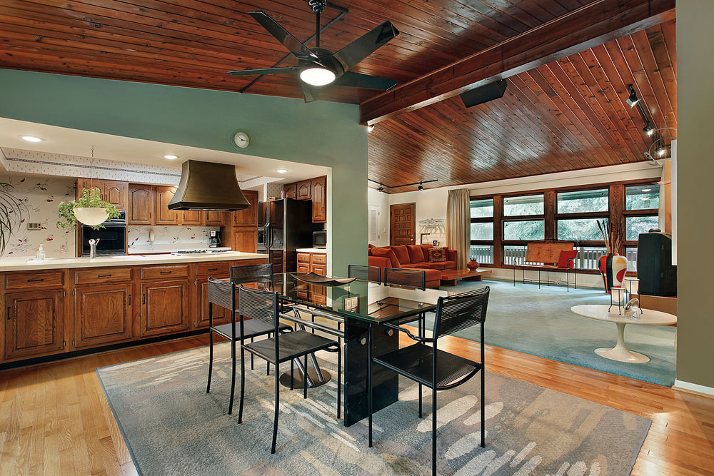 Kitchen with glass table